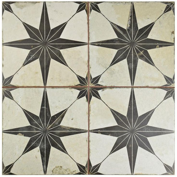 Merola Tile Star Nero 17-5/8 in. x 17-5/8 in. Ceramic Floor and Wall Tile (11.1 sq. ft. / case), Off White And Black/Medium Sheen