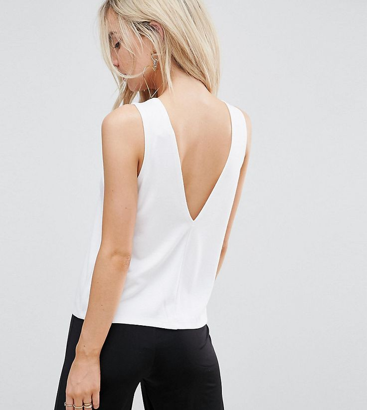 ASOS PETITE Top in Ponte with V Back - White