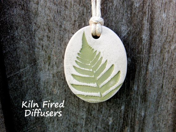 Fern Essential Oil Diffuser Necklace Pendant for Aromatherapy, Kiln Fired Ceramic Jewelry