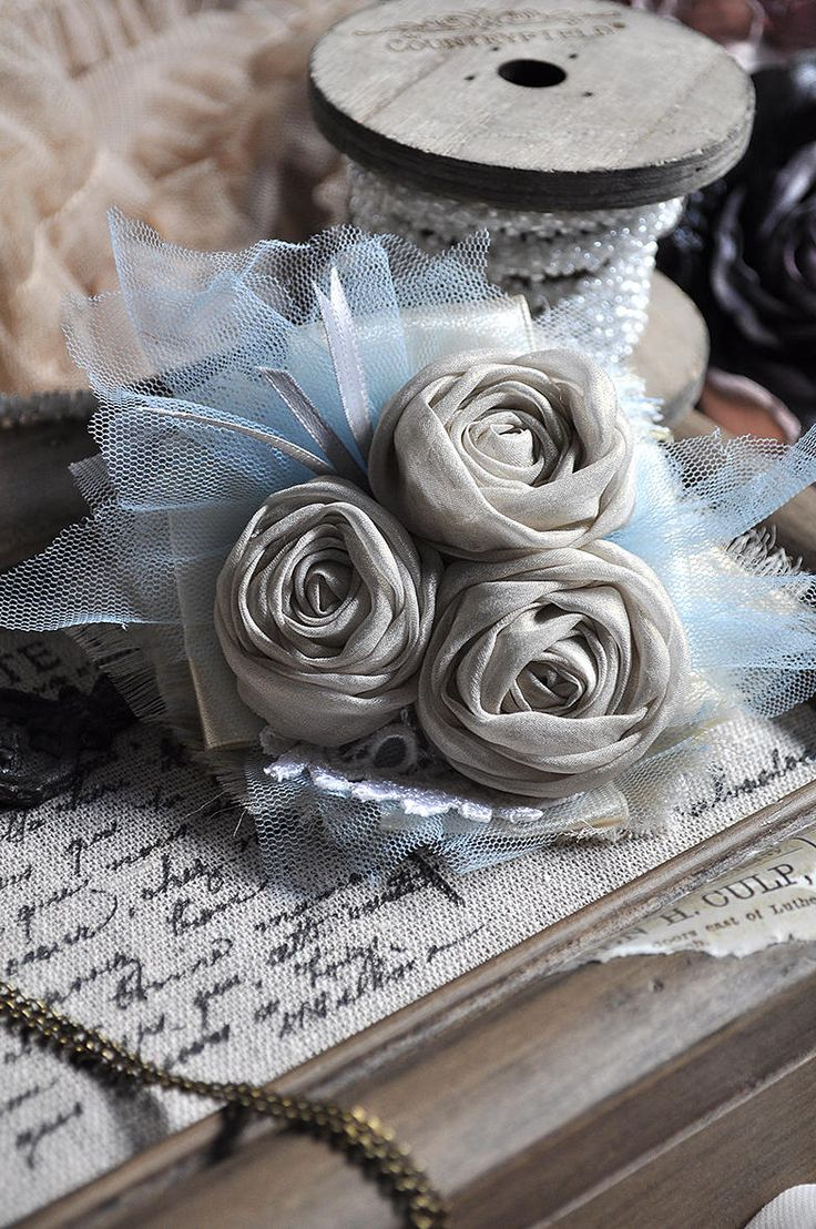 Vintage style Romance brooch -- rose rosette -- blue white gray - Sparkling Textile Winter - Lace Flowers - Brooch Flower Hand made by ShellenD on Etsy