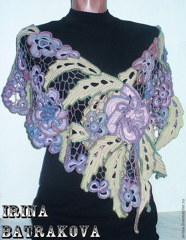 Вязаные накидки Ирины Батраковой. Beautiful crocheted cape.