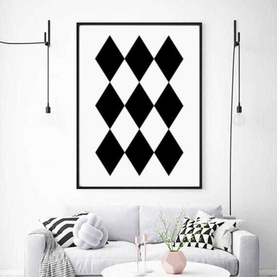 Scandinavian Print Geometric Black and White Print Instant
