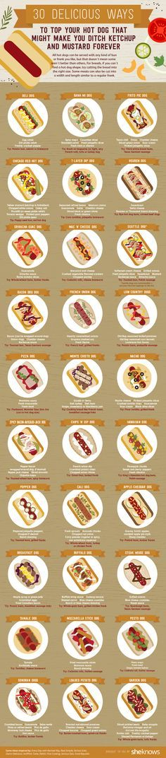 Creative hot dog toppings that update the classic cookout food to gourmet fare