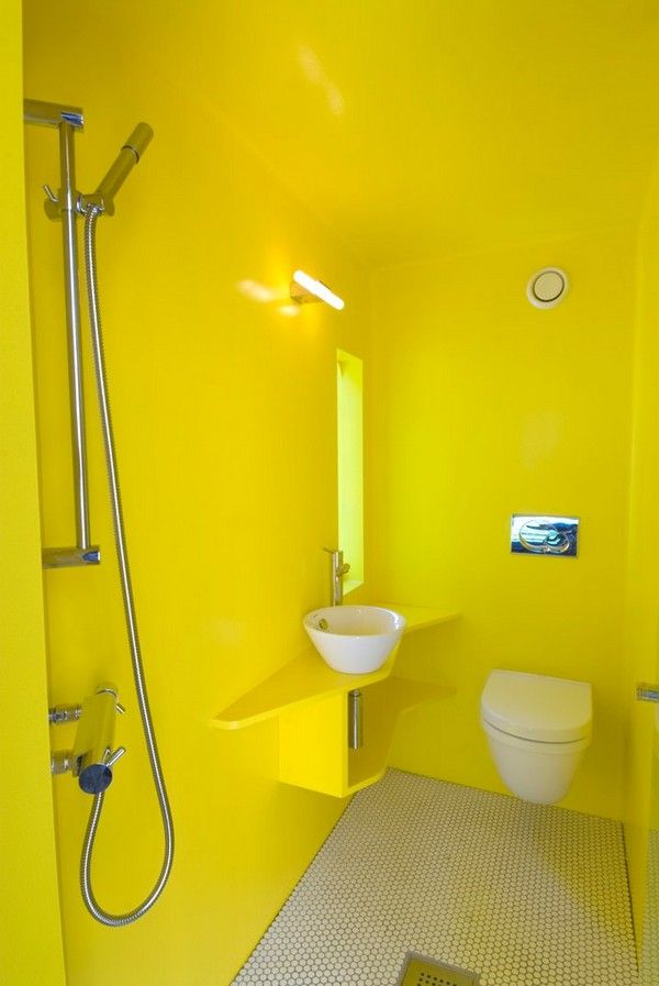 50120 best small house addict images on pinterest for Bright yellow bathroom ideas