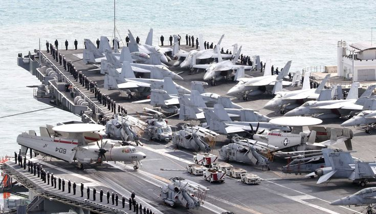 The USS Ronald Reagan aircraft carrier arrived in the South Korean port city of Busan...