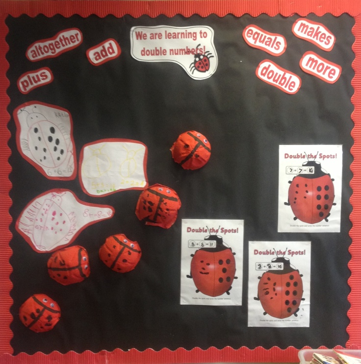EYFS maths classroom display on doubling numbers with a ladybird theme! Photos of children to be added!