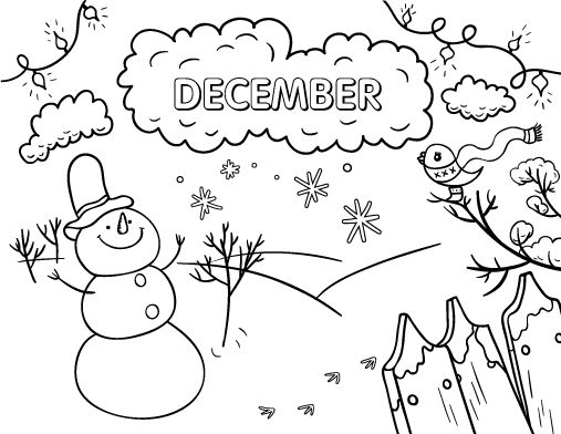 Printable December Coloring Page Free PDF Download At