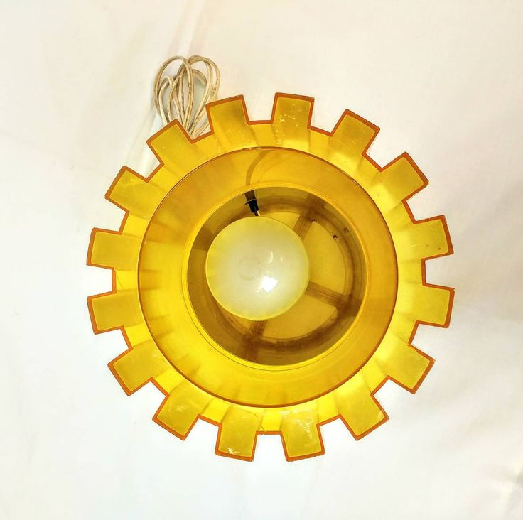 1973 Burman Lamp Yellow Gear Hanging or Table Garage Light Fixture Modern Ref 152563 by AntiqueShack on Etsy