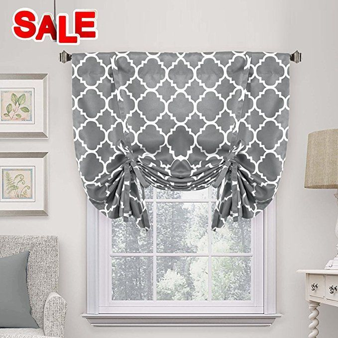 H Versailtex Thermal Insulated Grey Blackout Curtain Tie Up Shade For Small Window Colorfulcurtains Tie Up Shades Grey Blackout Curtains Window Rods