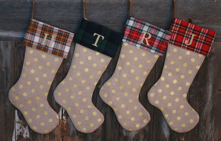 Plaid Burlap Stockings Set of 4 - Personalized Burlap Stockings - Plaid Stockings - Christmas Stockings, Stockings, Monogrammed Stockings by ModDotTextiles on Etsy