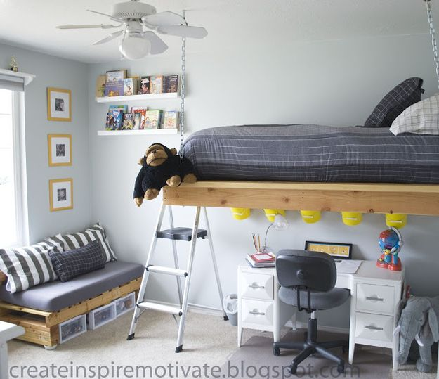 Another Suspended Loft Bed | 16 Totally Feasible Loft Beds For Normal Ceiling Heights