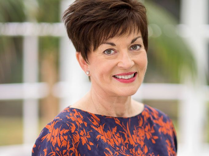 The Governor-General of New Zealand, Dame Patsy Reddy, in Liz Mitchell couture.