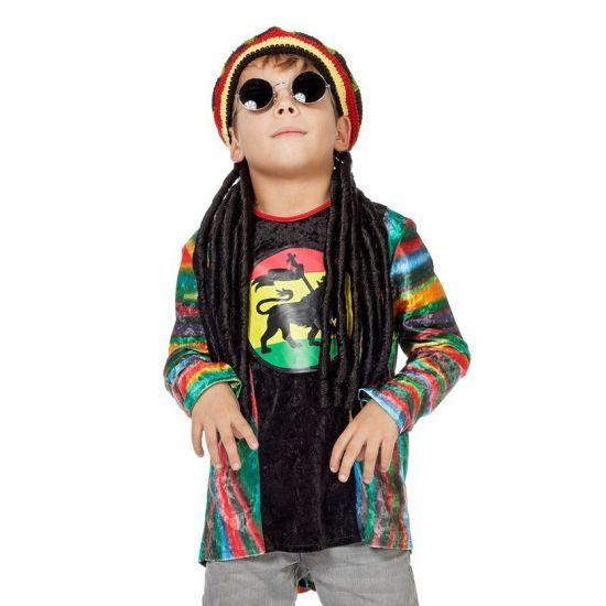 Hippie kinder shirt. Een stoer reggae hippie shirt met een vrolijk gekleurde print. Geschikt voor zowel jongens als meisjes. Carnavalskleding 2015 #carnaval