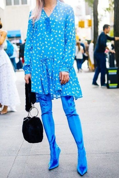 Loving this electric blue star-printed dress, layered on top of this bright blue over-the-knee boots..