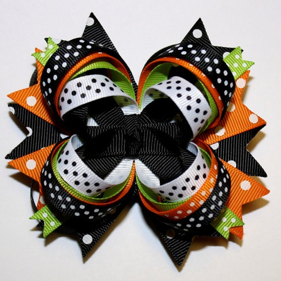 Halloween Orange Black Lime Green White Polka Dots Stacked Hair Bow