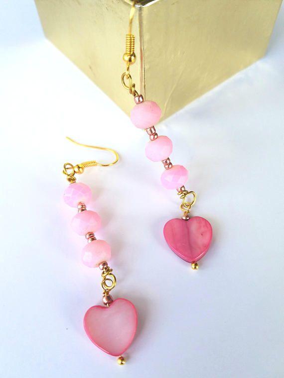 Pink heart long dangle earrings mother of pearl hearts cut