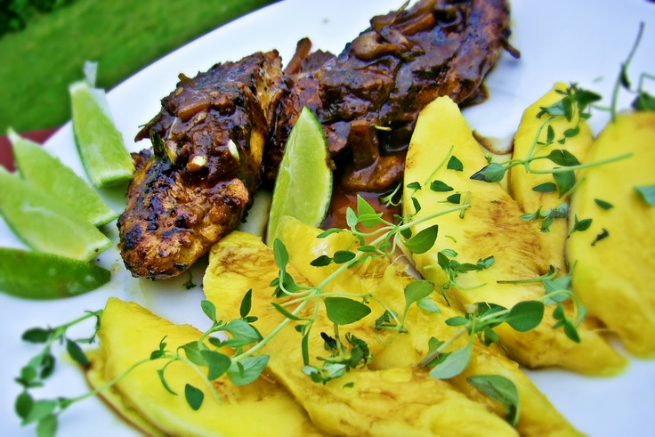 Jerk chicken with mango salad
