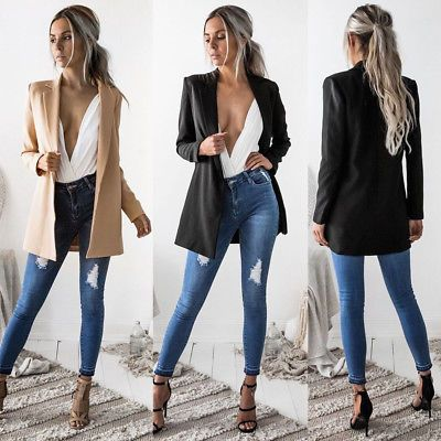 US Women Ladies Long Sleeve Cardigan Casual Blazer Suit Jacket Coat Outwear New in Clothing, Shoes & Accessories, Women's Clothing, Coats & Jackets | eBay