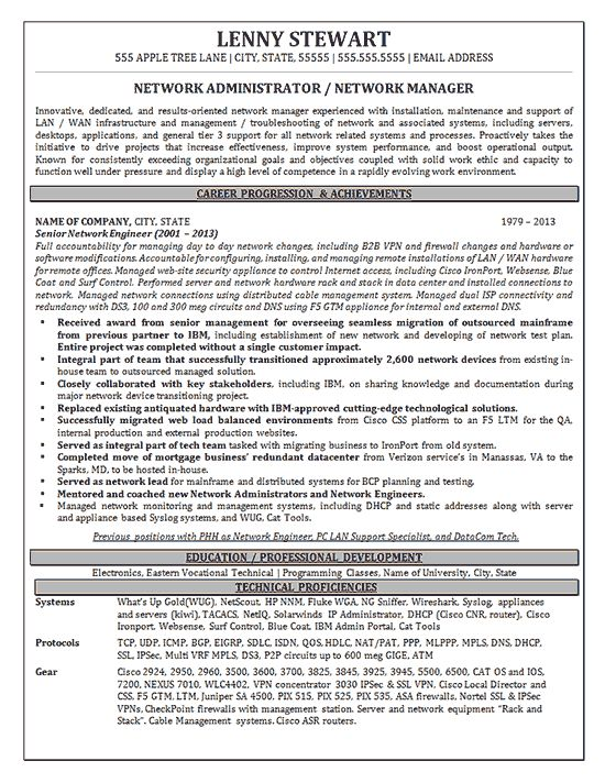Network Manager Resume Example for Senior Network Administrator responsible for management and support of large network LAN / WAN infrastructure.