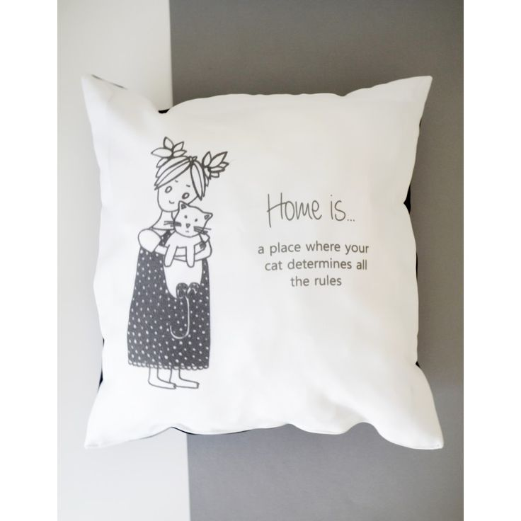 """Decorative pillow cushion cover """"Home is...cat"""""""