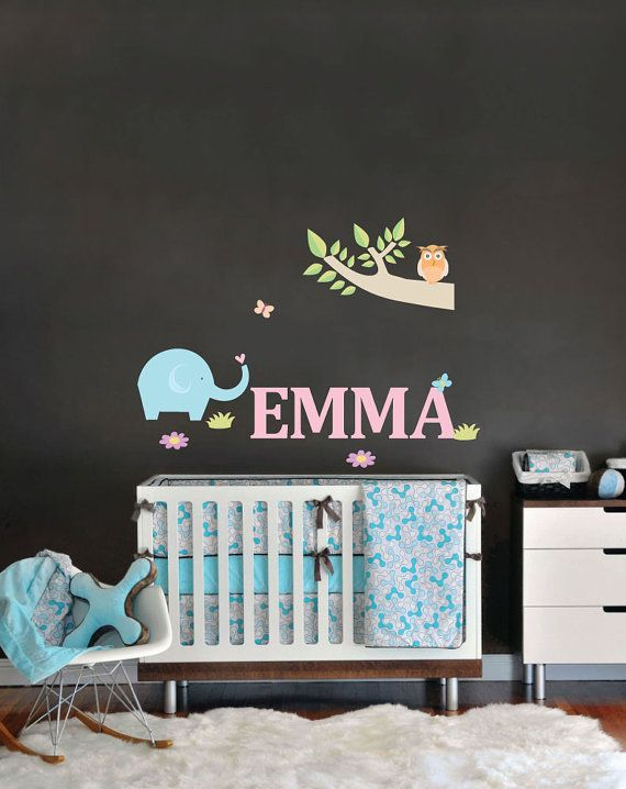 Name wall decal for nursery with elaphant owl and branch removable and reusable fabric