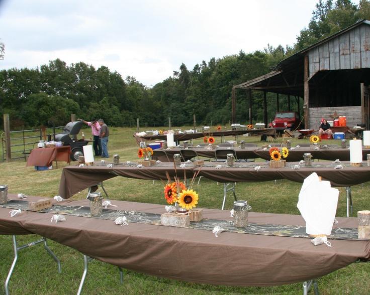 Camo Table Runners Sunflowers Firefly Jars And Cedar DIY Paper Towel Holders