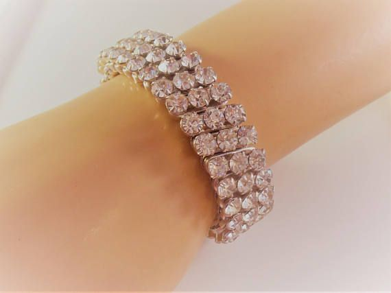 Rhinestone Expansion Bracelet Prong Set Rhodium Plate