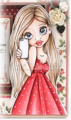 Skin/Hud: E13-11-21-000, R20 Eyes: B99-95-91 Hair/Hår: E547-44- 43-41-53 Phone/Telefon: W7-3-1-00 Red/Rødt: R59-24-22-20, RV29 Dots on the dress are made with the blender.