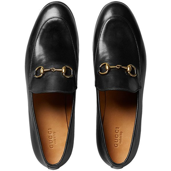 Gucci Jordaan leather loafers ($695) ❤ liked on Polyvore featuring shoes, loafers, gucci, flat pumps, black loafers, black loafer flats, leather sole shoes and leather sole loafers