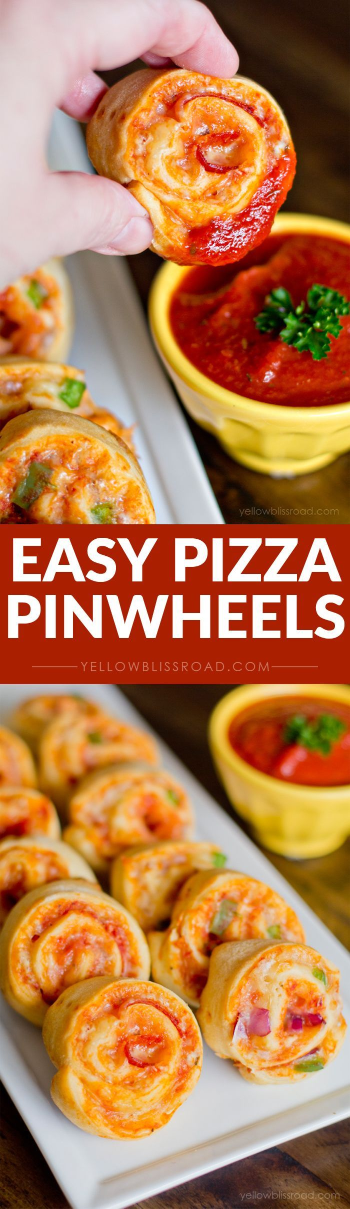 Pizza Pinwheels with Homemade Pizza Sauce - So easy to make, and would be a great after school snack or finger food for a party or get together. With just a few ingredients, they come together in just minutes!