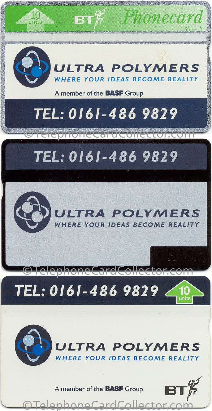 Ultra Polymers BT Phonecards - front and reverse of 3/4 Face card (with back print) and Full Face version of the card which wasn't back printed.