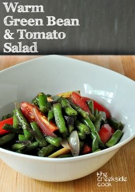 Take along the perfect picnic dish!  Warm Green Bean Tomato Salad | The Creekside Cook