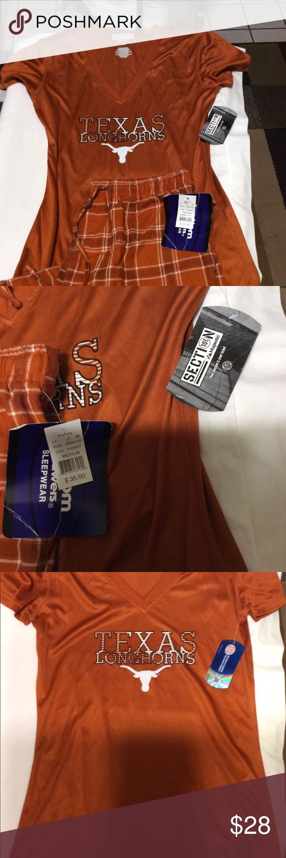 NWT Texas longhorns PJ'S Never worn flannel pants and woman's top. Bottom Drawers Intimates & Sleepwear Pajamas