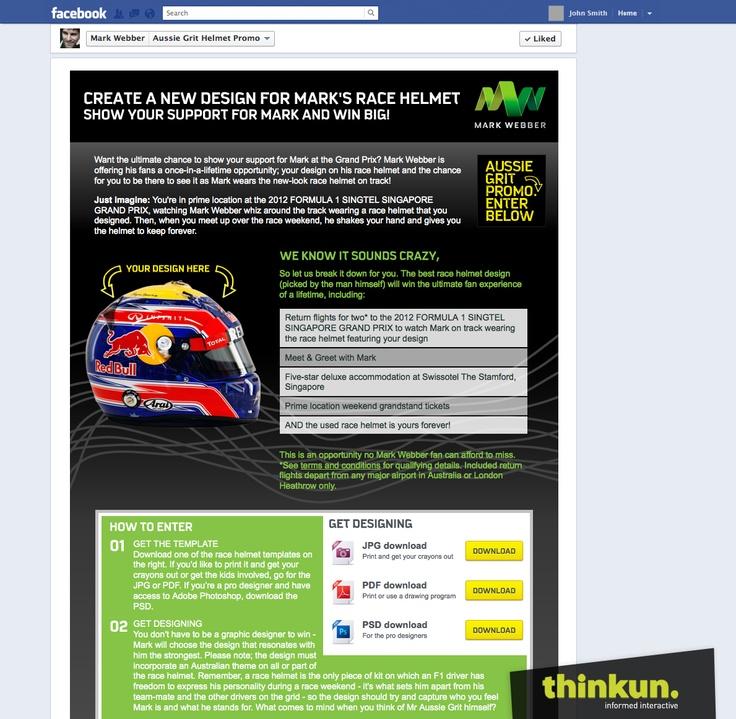 Mark Webber helmet promo Facebook competition