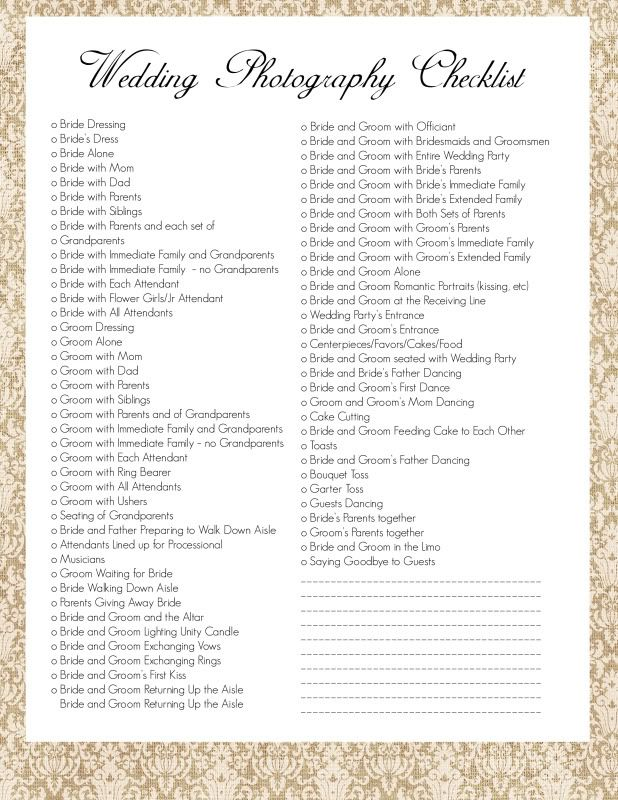 Wedding Photography Checklist. I wouldn't use ALL of these, but it's a place to start to make your own list :)
