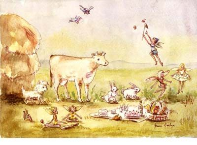 Signed limited edition print 'Picnic' by June Evelyn from 'Phoebe`s Book of Fairy Stories'. Available at Books Illustrated. http://www.booksillustrated.com.au/bi_prints_indiv.php?id=43&image_id=221