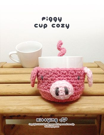 Piggy Fruit and Cup Cozy Crochet PATTERN Kittying Crochet Pattern by kittying.com from mulu.us  Hand-crocheted itemsare a perfect gift for your precious friends and family!