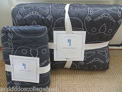 New Pottery Barn Kids Star Wars Stormtroopers twin quilt & std or euro sham gray