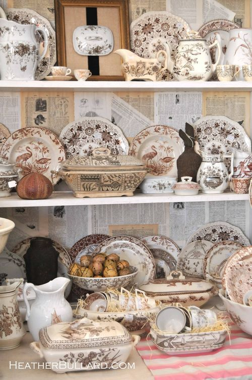 Lovely display of brown transferware, mostly from the Aesthetic Movement