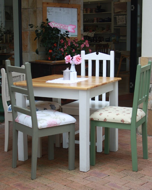 Table with Square Legs  We offer two types of tables, the square leg or the turned leg. These are available in a range of base colours, all with a cypress top.