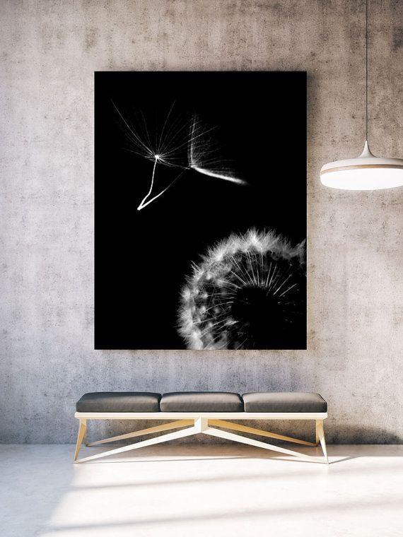 White Dandelion Modern Abstract Wall Art by NordicPrintStudio