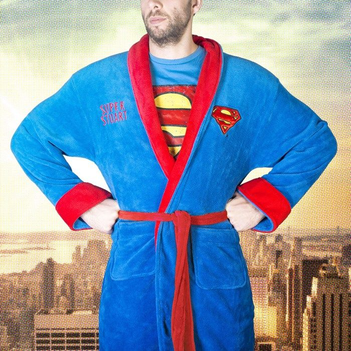 Treat your superhero to a dressing gown embroidered with his name! | Personalised Superman Dressing Gown | GettingPersonal.co.uk