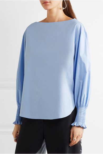Cédric Charlier - Smocked Cotton-blend Poplin Top - Sky blue - IT44