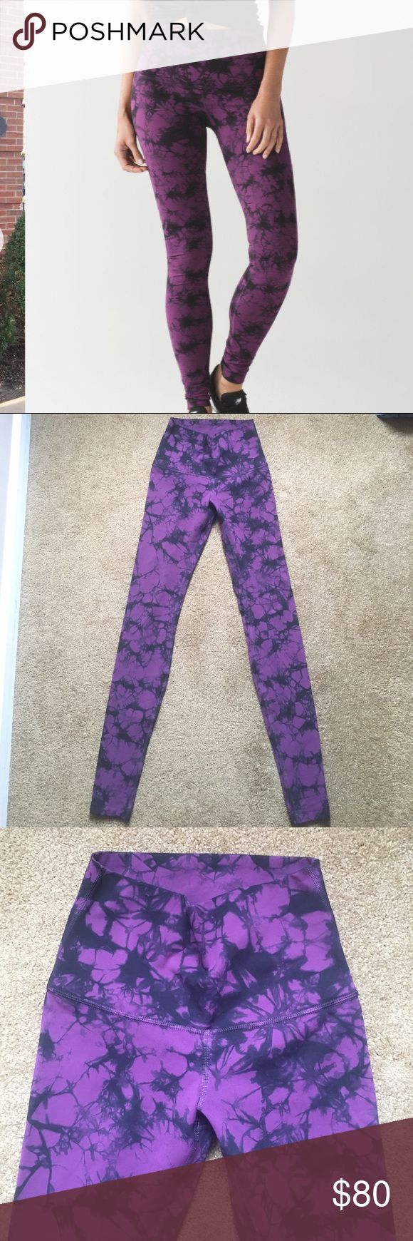 """Lululemon Wunder Under Pant Shibori Magenta 4 Lululemon Wunder Under Pant Shibori Darkest Magenta 4 Brand: Lululemon Style: Wunder Under Pant Color: Shibori Darkest Magenta Black (tie dye)--Stock pics show true color Fabric: Full on Luxtreme (Fullux) Features: high rise, 4 way stretch, sweat wicking Condition: Excellent used condition. No stains, holes, pilling or wear on the seams.  Approximate Measurements: Waist across top: 11.25"""" Waist across seam: 13"""" Hips: 13.75"""" Rise: 9.25"""" Inseam…"""