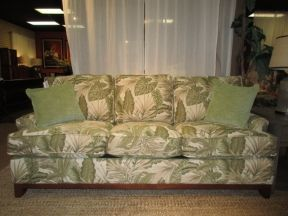 "Price: $1499.99 | Item #: 48492  Braxton Culler sleeper sofa in a tropical palm print upholstery. What an attractive sofa! The pullout is a queen size. Nice option to have when you are entertaining guests. Measures 85""long x 37""deep x 36""high."