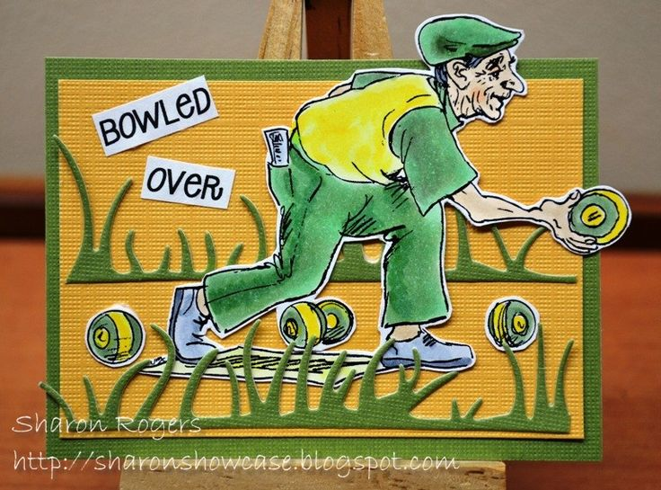 Just Inklined Digital Stamps, http://sharonshowcase.blogspot.com, Australia, Australiana, ATC, Green and Gold, Lawn Bowls, Die Cuts