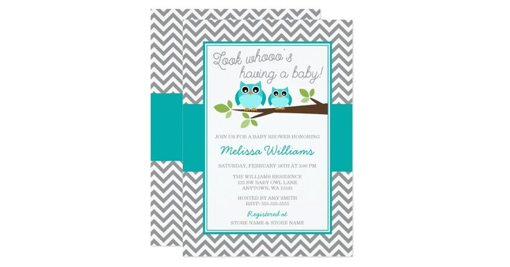 A teal owl baby shower invitation. Design features a mother and baby owl sitting on a branch, gray chevron pattern and accents of teal blue.