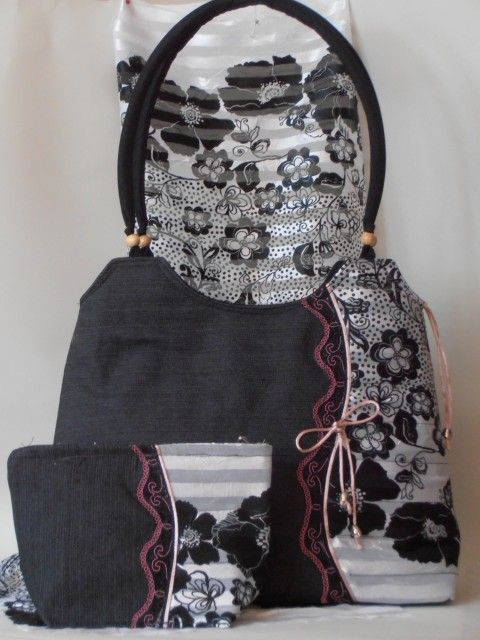 Különleges három darabos táska szett: Farmer táska muszlin betéttel, sállal, neszeszerrel