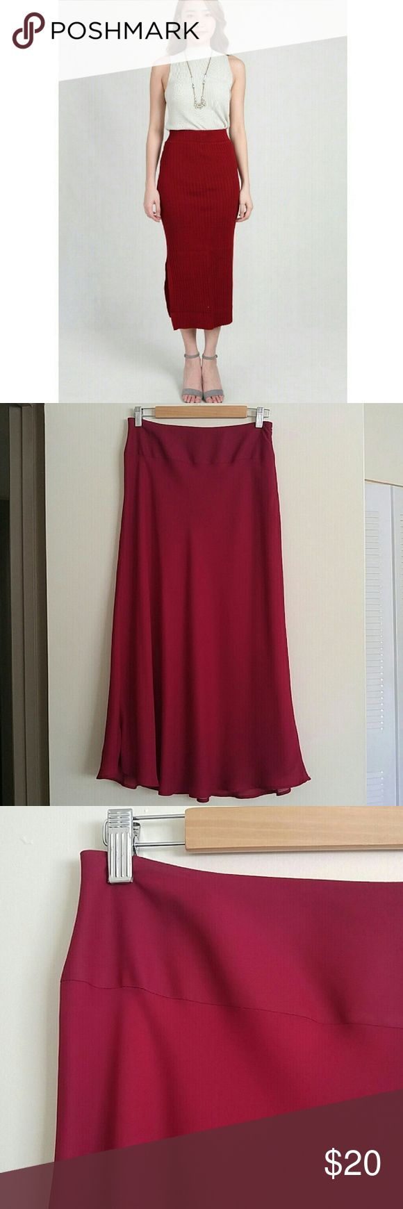 "NWOT Croft & Barrow Wine Red Midi Skirt This skirt looks and feels so rich & classy! Can be a midi or maxi depending on your height. Deep burgundy red color called ""Rumba Red."" Invisible side zip. Fully lined. Feels like silky soft chiffon. Slight flare at the bottom gives it a fitted almost tulip shape. Never worn! Bring out your pearls for this one!   {Measurements} Waist: 28"" Length: 35.5""  {Materials} 100% Polyester croft & barrow Skirts"