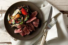 Grilled Deer Heart with Peppers by Hank Shaw